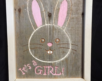 Its a Girl Bunny Wood Plaque