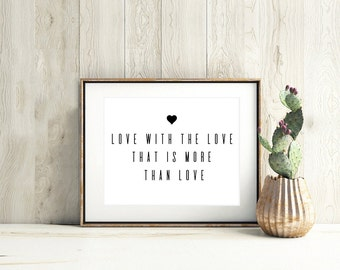 Beau Love Quote Print, Valentines Day Print, Bedroom Love Print, Love Wall Art,