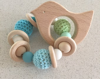 Blue and green bird teether