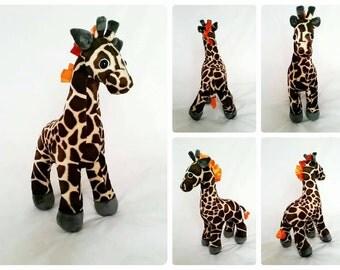 PLUSH giraffe, giraffe teddy, raff giraffe, brown giraffe, orange giraffe, funky giraffe,