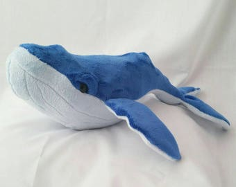 Baby Humpback whale,plush whale, cuddly whale,blue and baby blue whale, whale Teddy,  whale plush, baby whale, whale, toy whale