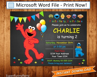 Elmo Invitation, Sesame Street Invitation, Editable Microsoft Word file, DIY Word Template, Instant Download, Digital File