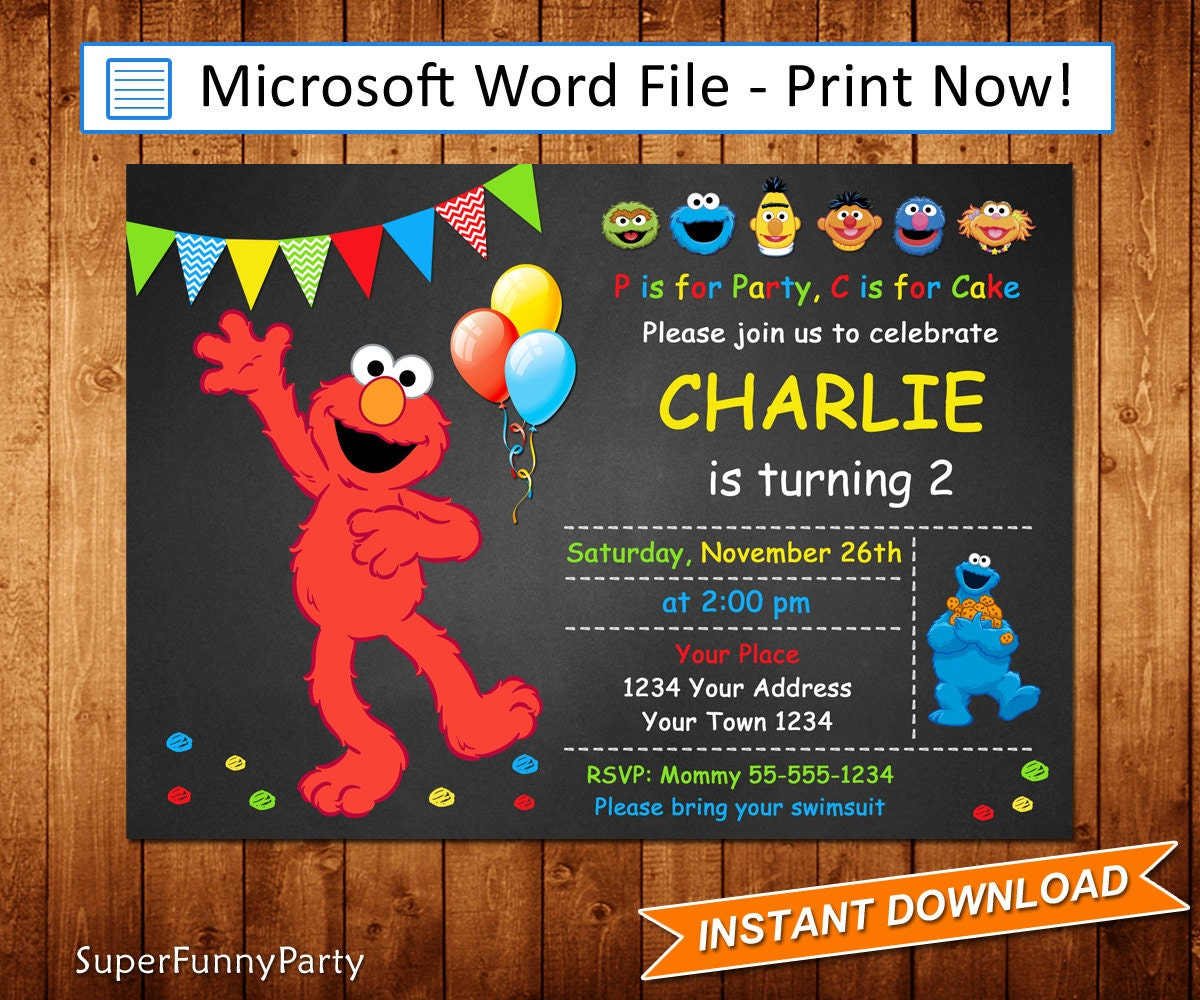 Elmo invitation download for Elmo template for invitations