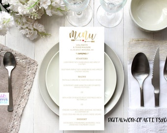 Wedding Menu Template, Gold, Printable Wedding Menu, DIY Rustic Wedding, Table Menu Card, Reception Card, Editable PDF Template,Calligraphy