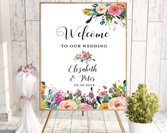 Welcome To Our Wedding, Welcome Wedding Sign, Printable Welcome Sign, Welcome Sign, Custom Welcome Sign, Floral, Boho Chic Wedding, Digital