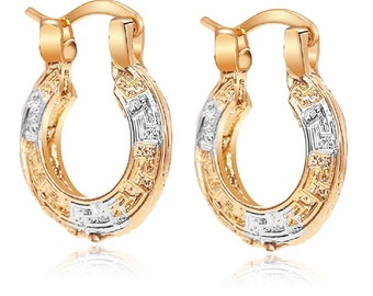 Ladies Womens 18k Silver & Gold Plated Two Tone Hook Loop Fashion Earring
