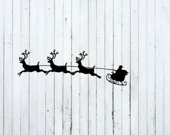 Reindeer svg, Christmas svg, christmas svg files, christmas cut files, santa sleigh svg, santa claus svg, reindeer with santa, sleigh svg