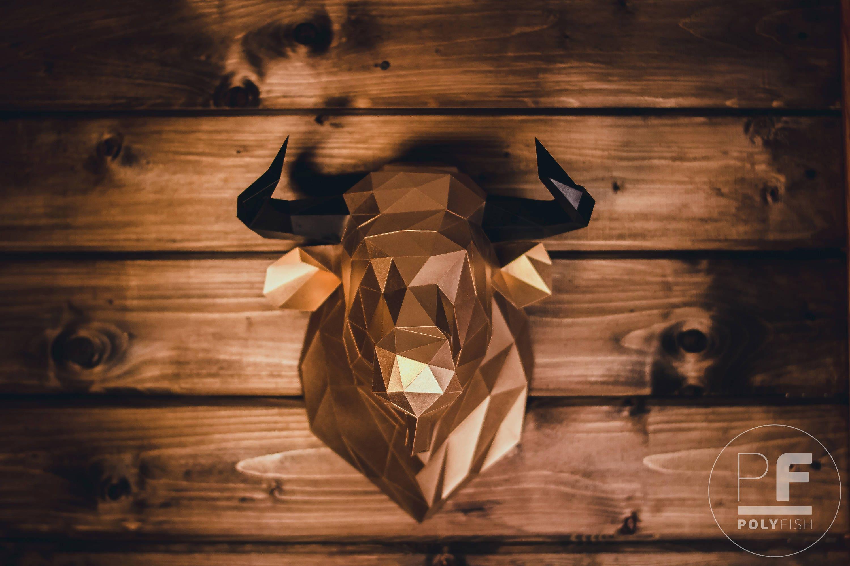 Bull Head (bull, paper bull, origami bull, wall hanging ... - photo#49