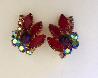 Vintage 50s rhinestone earrings