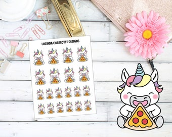 Unicorn Pizza Time/Night - Planner Stickers
