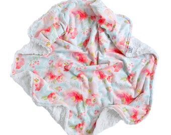 Minky Baby Blanket. Pink Blush Floral Minky Baby Blanket. Double Minky Baby Blanket.  Custom Blanket. The Cozy Blanket.
