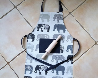 Handmade Little Chef's / Little Baker's / Mummy's & Daddy's Little Helper Adjustable Apron. Elephants on the March Charcoal.