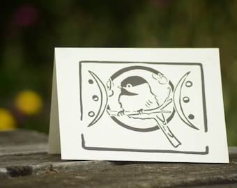 Black-Capped Chickadee Block Print Card