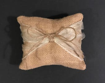 Burlap and Organza wedding ring cushion for dog