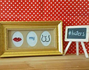 Kiss My Ass framed cross stitch