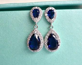 Blue Sapphire Teardrop Bridal Earrings, Navy Blue CZ Wedding Earrings, Something Blue Crystal Bridal Earrings, Blue Bridesmaids Earrings