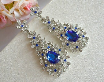 Blue Crystal Floral Spray Cluster Chandelier Earrings. Sapphire Rhinestone Teardrop Bridal Earrings. Blue Wedding Earrings, Dangle Earrings