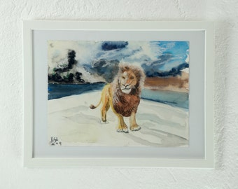 Original watercolor, painting, mixed media, lion
