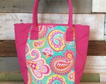 Monogram Lunch Bag, Lunch Tote, Insulated Lunch Bag, Monogrammed Cooler, Lunch Bag, Paisley, Insulated Bag, Pink Cooler Tote, Lunch Bag