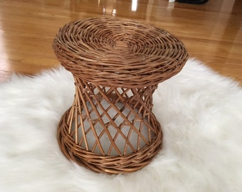 Mid Century Modern wicker/reed plant stand/foot stool