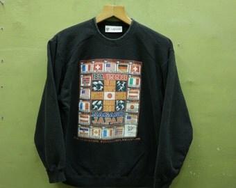 Vintage Olympic Winter Games Nagano Japan 1998 Sweatshirt Flag Sportswear Streetwear Sweater Black Color Size M