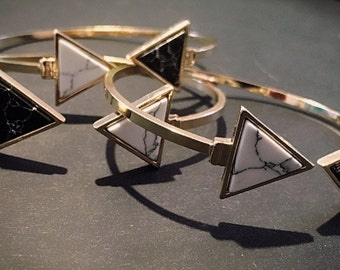 Cuff Bracelet / Black and White Bracelet / Triangular Bracelet / Cuff Triangle Bracelet / Geometrical Bracelet