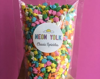 Edible Sprinkles - Wildflower Confetti Sequins, Quins, Sprinkles, cake, cookie decorating - 3oz