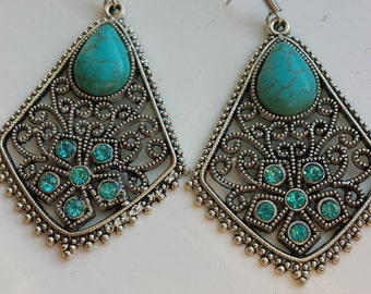 Tibetan Silver, Turquoise and Crystal Bohemian Earrings