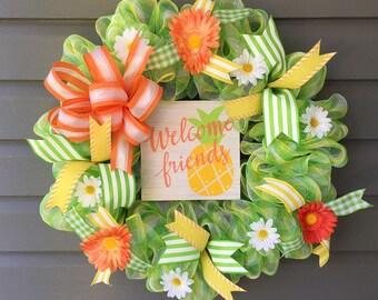 Summer Mesh Wreath, Summer Wreath For Front Door, Mesh Wreath,Welcome Wreath, Summer Wreath,Large Summer Wreath,Daisy Mesh Wreath