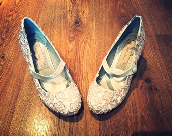 Hand dyed Blush Lace Mary Janes