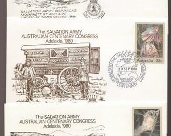 Salvation Army Australia Centenary Congress 1980 3 Different Days Covers -  Cavalry Fort, Army Wings, Army Barracks Philatelic Ephemera