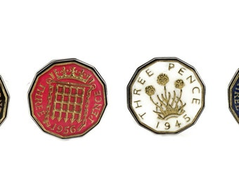 Hand Painted Enamelled Threepence Coin Two Tone Cufflinks. Year choice from 1937 to 1970. Choice of 4 Colour