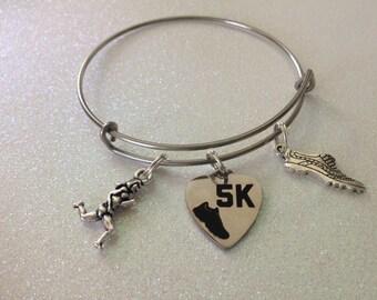 5K bracelet, runner gift, stainless steel bracelet
