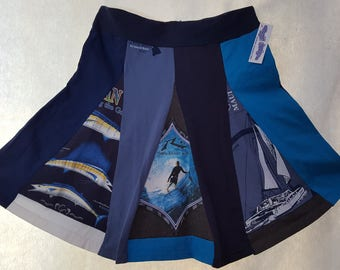 T-Skirt: This skirt wants to hang at the beach! It is shades of blue with a nautical theme. One of a kind calling to that surfer girl!