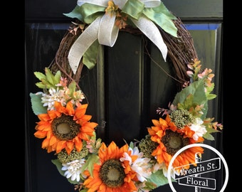 Fall Wreath, Sunflower Wreath, Front Door Wreath, Grapevine Wreath, Oval Wreath, Wreath Street Floral, Orange Wreath, Autumn Wreath
