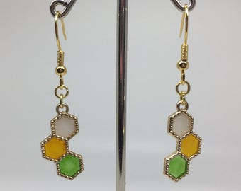 Hexagon Earrings - Yellow Green