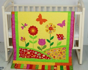 Baby Girl Quilt, Flower Quilt, Baby Shower, Gift Idea, Applique Quilt, Nursery Décor, Nursery Bedding, Pink, Crib Quilt, Butterfly, Flannel