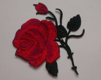 Red Rose Iron on Applique, Beautiful Rose Iron on Patch, Flower Iron-on Application