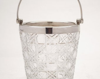 Vintage Silver and Cut Glass Ice Bucket, 1956