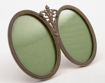 French Brass Double Photo Frame, Circa 1920