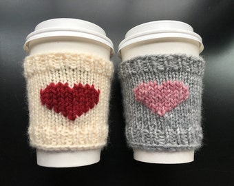 Hand Knit Coffee Sleeve, Coffee Cozy, Heart or Monogram