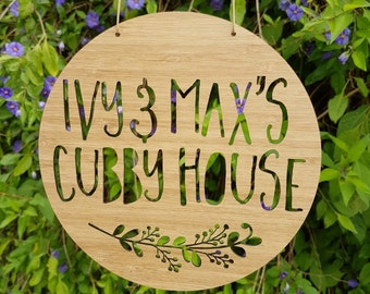 Personalised Wooden Cubby House Sign Floral Design 19.5cm-laser cut-bamboo-kids gift-wall decor-home living-keepsake-treehouse-plaque