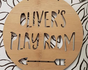 Personalised Wooden Play Room Sign Arrow Design-wall art-bamboo-toyroom-kidsdecor 19.5cm-lasercut-plaque-kids gift-present-wall hanging