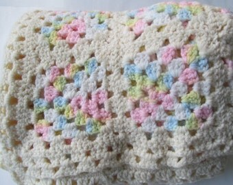 """Hand-Crocheted White, Yellow, Green, Pink and Blue Baby Afghan Stroller Throw - 52 x 62"""" - Great Welcome Baby, Baby Shower Gift!"""