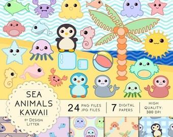 80% Until New Year - Kawaii Sea Animals clipart & digital paper: cute nautical animals, seahorse jellyfish starfish fish sun and palm summer