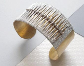 Thread wrapped silver cuff / silver bracelet, rhinestone cuff, statement cuff, modern cuff, contemporary bracelet, elegant bracelet
