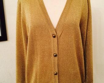 Vintage 70's rockstar V-neck gold metallic button down cardigan
