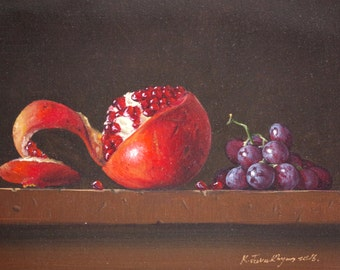 Still Life oil Painting, Fruits, Original Handmade art, Classic art, Painting for kitchen, One of a Kind