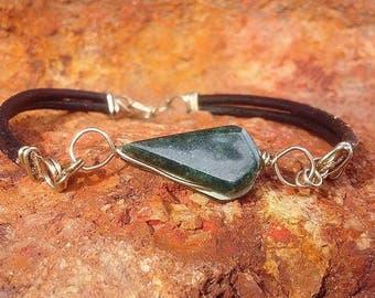 dark green jadeite jade and leather bracelet