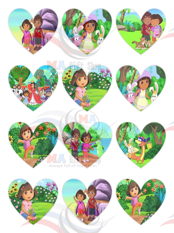 X  Mm Heart Shape Dora The Explorer Cake Topper Cupcake - Dora birthday cake toppers